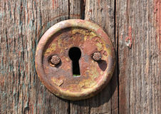 Keyhole of old door Stock Photos