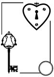 Keyhole and old key. Vector set with keyhole and old key in black and white color Stock Photos