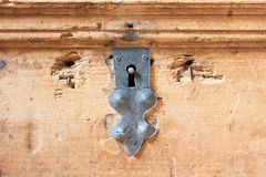Keyhole of old lock on a chest Royalty Free Stock Image