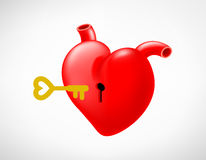 Keyhole on red heart with key. Metaphor love concept. Unlock your heart, Vector illustration Stock Photo