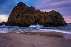 The Keyhole Rock at sunset, at Pfeiffer Beach  Royalty Free Stock Photos