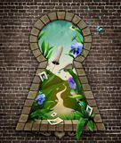 Keyhole Wonderland. Fantastic bizarre fabulous keyhole in  brick wall in  whimsical garden fairy tale Wonderland. Computer graphics Stock Photo