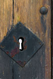 Keyhole in wooden door close-up Royalty Free Stock Images