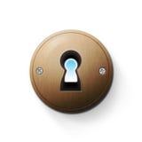 Keyhole illustration. Wooden keyhole illustration isolated on white background Stock Photo