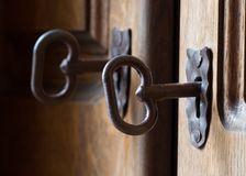 Keyholes and key Royalty Free Stock Photos