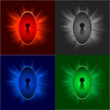 Keyholes on shiny backgrounds Royalty Free Stock Photo