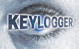 Keylogger eye with matrix looks at viewer concept Royalty Free Stock Photos