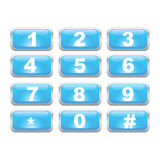 Keypad. Illustration of a glossy blue number keypad Royalty Free Stock Photos