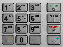 Keypad atm. Metallic keypad of an automated teller machine Stock Photos