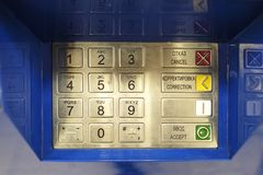 ATM EPP keyboard. Keypad of an ATM cash machine. Pass code on ATM royalty free stock image