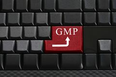 Keypad of black keyboard and have text GMP on enter button. Royalty Free Stock Photography