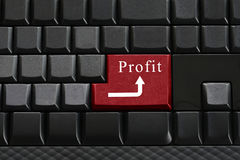 Keypad of black keyboard and have text profit on enter button. Royalty Free Stock Photos