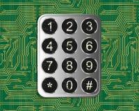 Keypad On Circuit. Metal vintage keypad on green circuit board background Royalty Free Stock Image