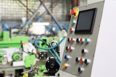 Keypad control panel and LCD screen of metalworking machine Stock Image