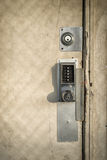 Keypad Door Lock on Old, Wooden Door Stock Image