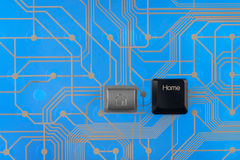 Keypad home on blue background Stock Photography
