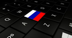 Keypad laptop. Keypad laptop With flag Russian Royalty Free Stock Images
