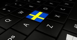 Keypad laptop. Keypad laptop With flag Sweden Royalty Free Stock Images