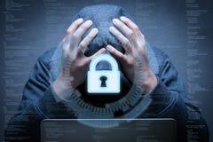 Keypad lock with hacker failed Royalty Free Stock Photography