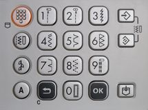 Keypad of a sewing machine Stock Photos