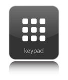 Keypad sign on black glossy button Royalty Free Stock Images
