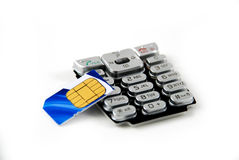 Keypad and sim card Stock Photos