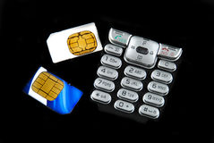 Keypad and sim card Stock Photography