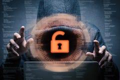 Keypad unlock with successful hacker Royalty Free Stock Photo