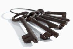 Keyring com chaves oxidadas velhas no fundo branco Imagem de Stock