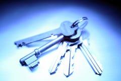 Keyring with keys. Isolated on blue background Royalty Free Stock Image