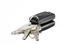 Keyring with keys. On a white background Stock Photo