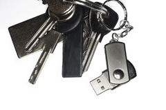 Keyring med en USB keychain Arkivbilder