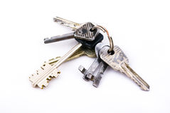 Keys. Old keys on white background Royalty Free Stock Images