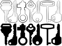 Keys. The image of keys as silhouettes and contours Stock Illustration