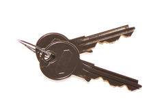 Keys. For opening lock with cylindrical secret on door Royalty Free Stock Image
