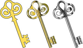 Keys. Three keys : gold, silver and yellow. EPS 8 stock illustration
