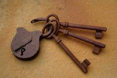 Keys. Old rust keys on the floor Stock Photography