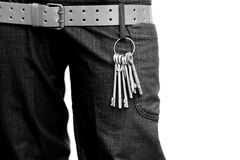 Keys. Several keys on a trousers Stock Images