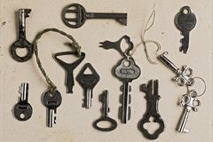 Keys. Collection of old rusty keys Stock Image