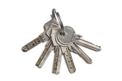 Isolated Keys. Photo of some keys and keyring isolated on white Royalty Free Stock Images