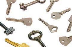 Keys. Some keys on white background stock photography