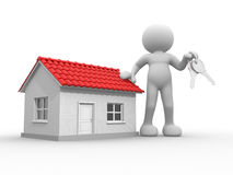 Keys. 3d people - human character with  keys in hand, and a house . 3d render illustration Stock Images