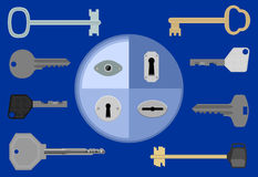 Keys. Eight various keys and four different keyholes on blue royalty free illustration