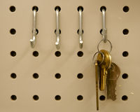 Keys. A variety of keys hanging on a hook Stock Images