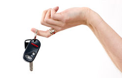 Woman Holds Electronic Car Keys Fingertips Stock Photo