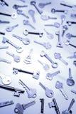 Keys. Lots of keys, blue tone Royalty Free Stock Image