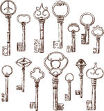 Keys. Vector drawings of a different ancient keys vector illustration