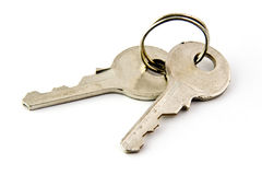 Keys. Two small old keys isolated on white background Stock Photo