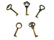 Keys. 5 golden keys Royalty Free Stock Photography