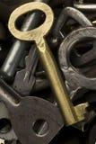 Keys. A golden key amid the rusty ones stock image
